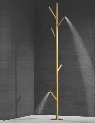 Under the Tree, Außendusche aus gebürstetem Messing. Gartendusche - Korrosionsbeständig für Warmwasser mit Fußdusche. Made in Italy
